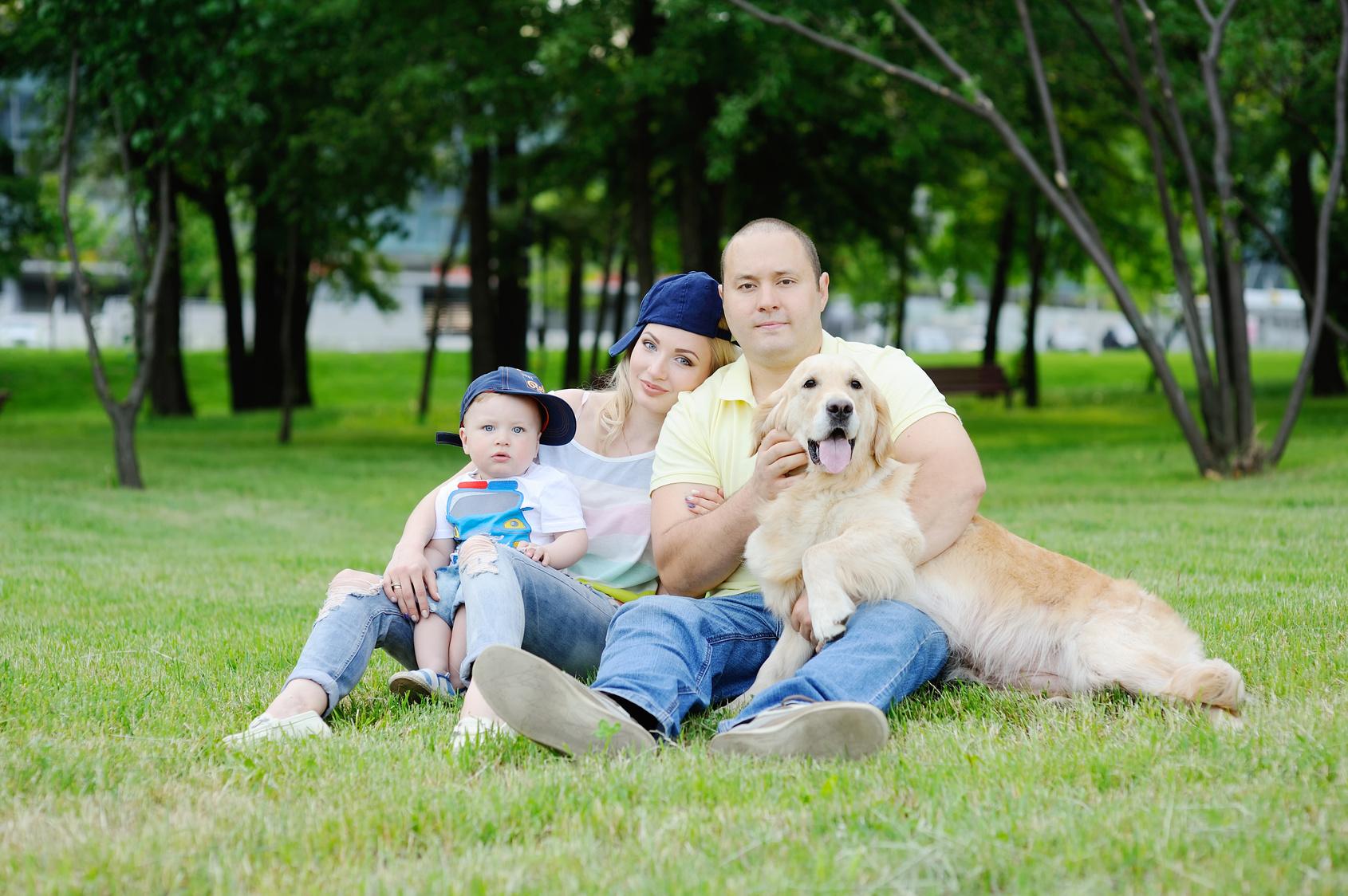 famille et golden retriever