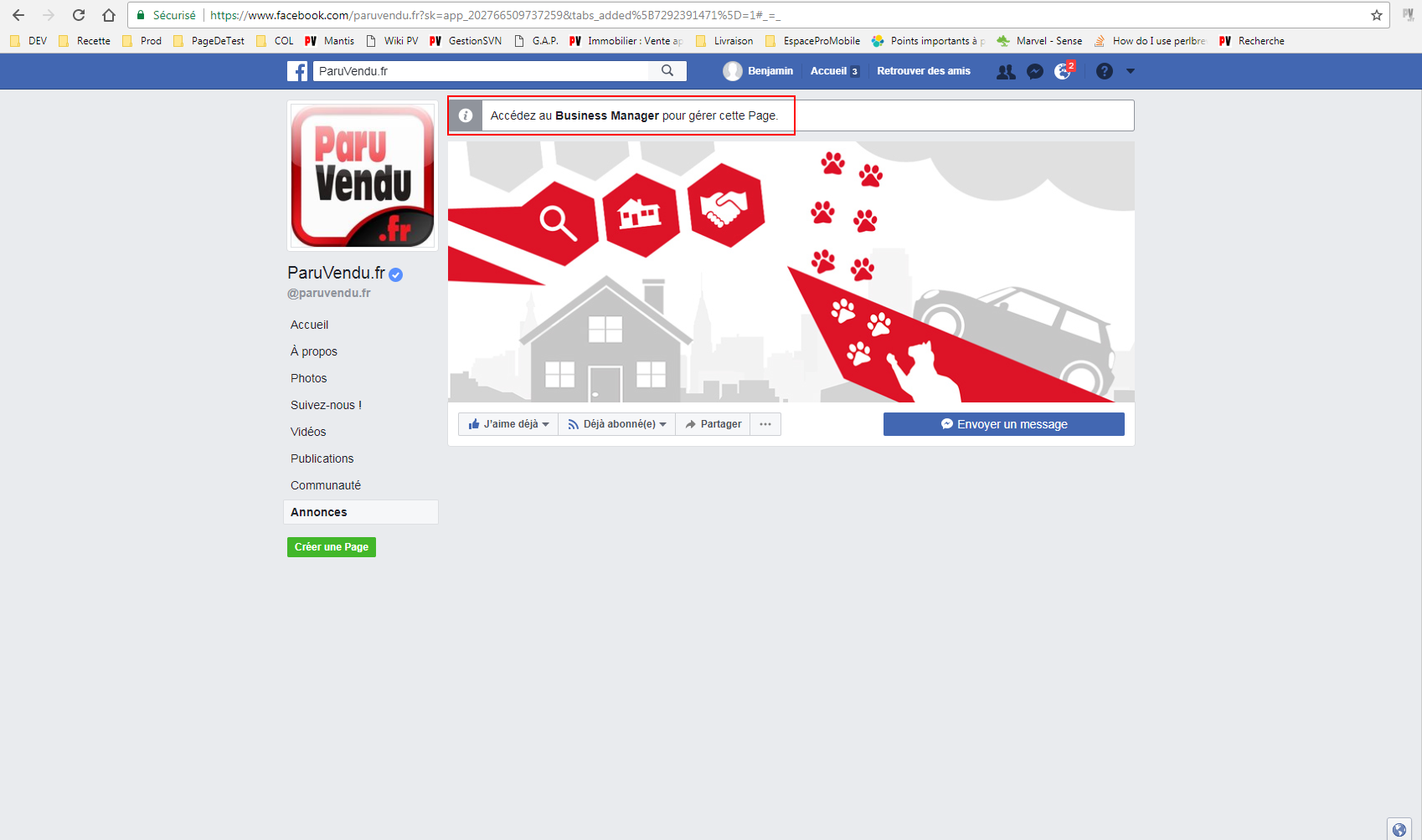 Onglet Annonce FB Tuto 2
