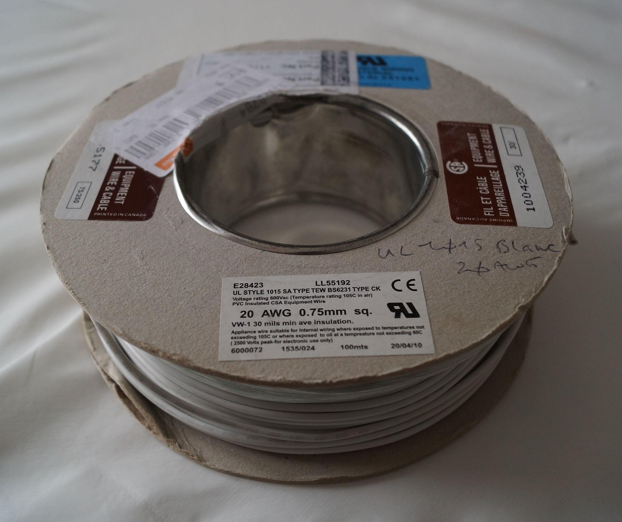 100m Fil de cablage 1007 AWG20 600V 105°c blanc 20 Coutances (50)