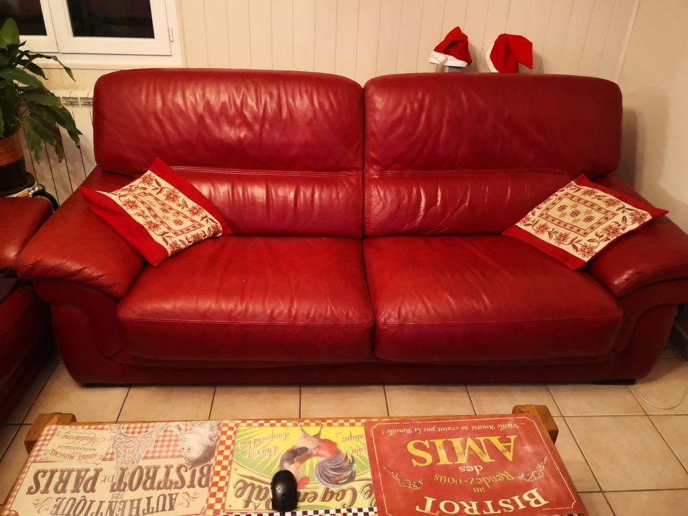 1Canapé cuir rouge 3 places 1 canapé cuir rouge 2 places 250 Martigues (13)