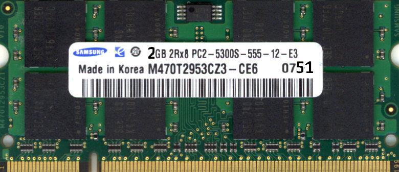 Ram 2GB PC2-5300S 667MHz SO-DIMM Samsung 20 Paris 14 (75)