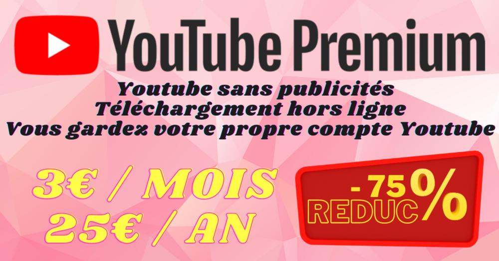 Abonnement Youtube Premium entre 1 mois et 1 an au choix / Y 0 Paris 2 (75)