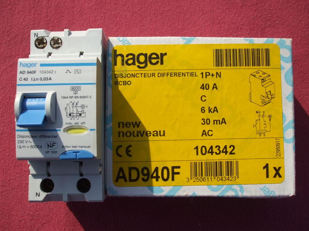 Réf AD940F OU ADC940F DISJONCTEUR HAGER 1P+N 40A 30mA 140 Vouel (02)
