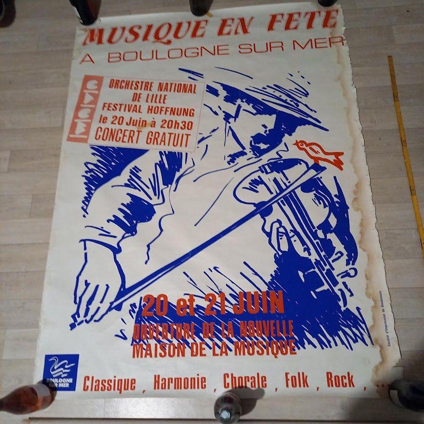 Affiche fête de la musique  Boulogne sur mer, 20-21 juin 198 40 Saumur (49)