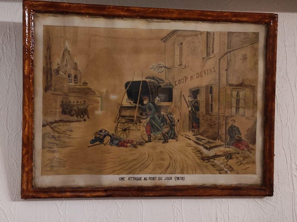 Affiche sous cadre,  Une attaque au point du jour  1870 10 Champigny-sur-Marne (94)