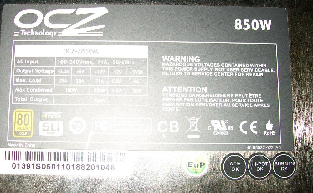 Alimentation OCZ 850 watts 80+ Gold Semi Modulaire 60 Béthune (62)
