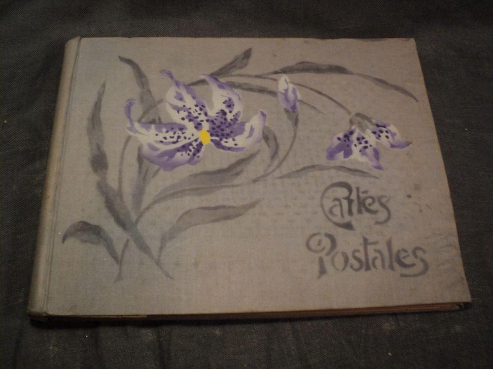 Ancien Album à Cartes Postales Tissu Imprimé Orchidées.  18 Loches (37)