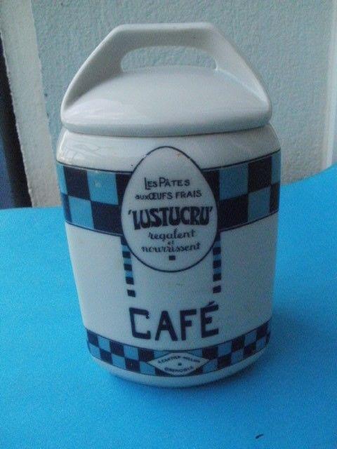 Ancien pot à café en porcelaine Publicitté LUSTUCRU 12 Montauban (82)