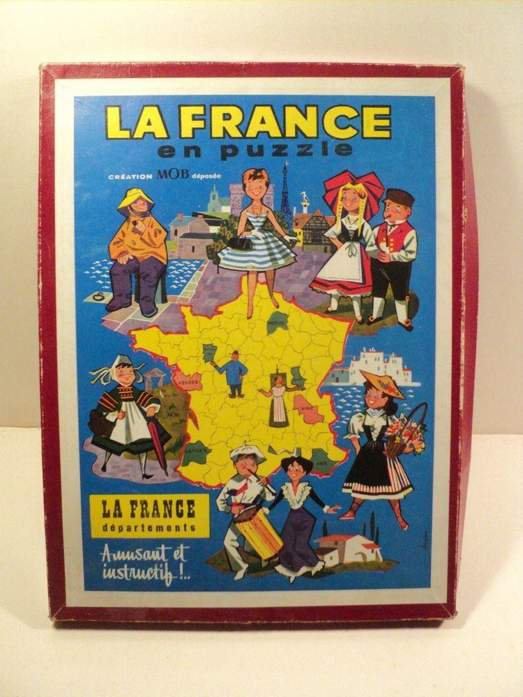 Ancien Jeu Éducatif La France en Puzzle Carte Vintage 25 Loches (37)
