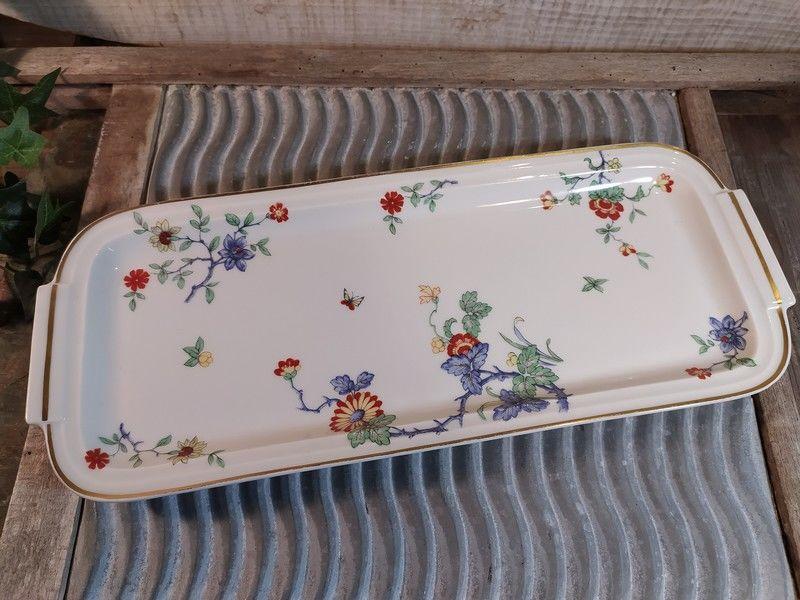 Ancien Plat à Cake Porcelaine Haviland Décor Fleurs Vintage 40 Loches (37)