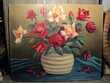 Ancien Tableau Bouquet de Fleurs Roses 1960. Loches (37)