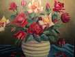 Ancien Tableau Bouquet de Fleurs Roses 1960. Décoration