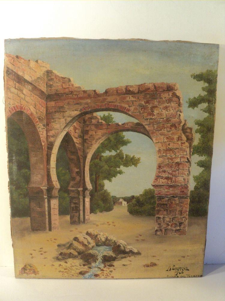 Ancien Tableau Orientaliste Ruines de Tlemcen Algérie 1940 140 Paris 1 (75)