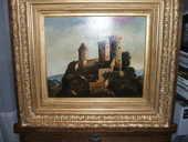 Ancien tableau sur toile de 1935 le chateau de FOIX  840 Le Taillan-Médoc (33)