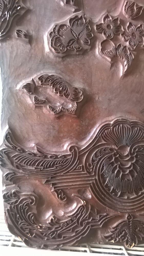 Ancien tampon bois sculté 60 Carvin (62)