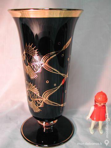 Ancien vase opaline napoleon III decor marine or 30 Dunkerque (59)