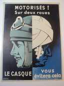 Ancienne Affiche Sécurité SNCF Motorisés ! sur deux roues .. 50 Loches (37)