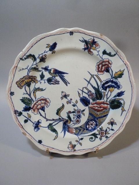 Ancienne Assiette Faïence de Gien Corne d'Abondance XIXème 15 Loches (37)