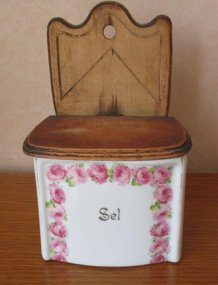 Ancienne et belle boîte à sel en porcelaine - Décor roses -- 15 Creil (60)