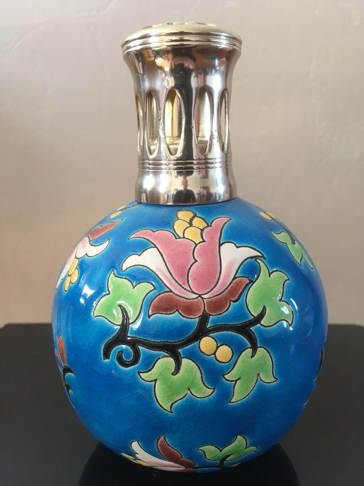 ANCIENNE LAMPE BERGER EMAUX de LONGWY BOULE DECOR FLORAL LY  184 Tours (37)