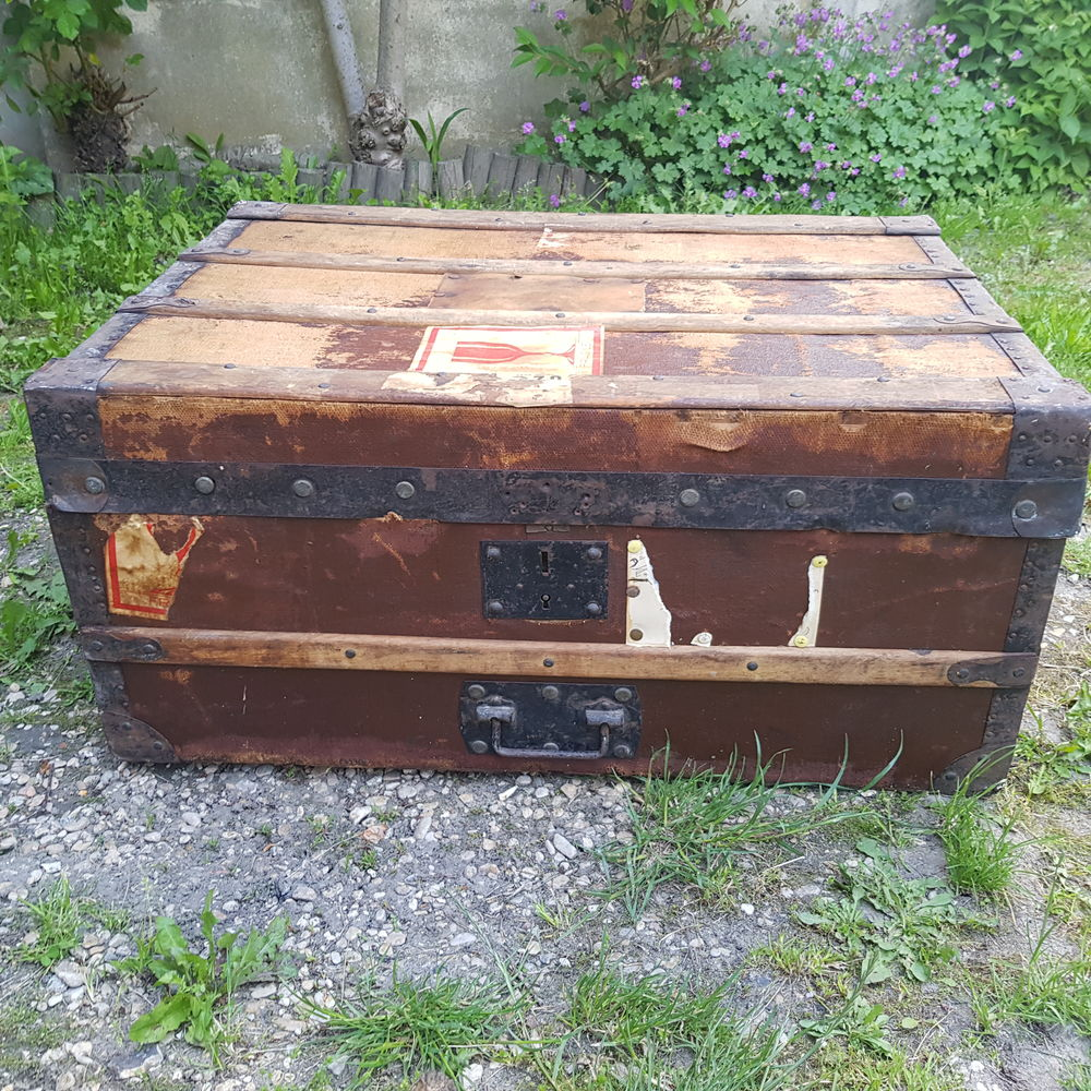 ancienne malle de voyage en bois ancien  52 Versailles (78)