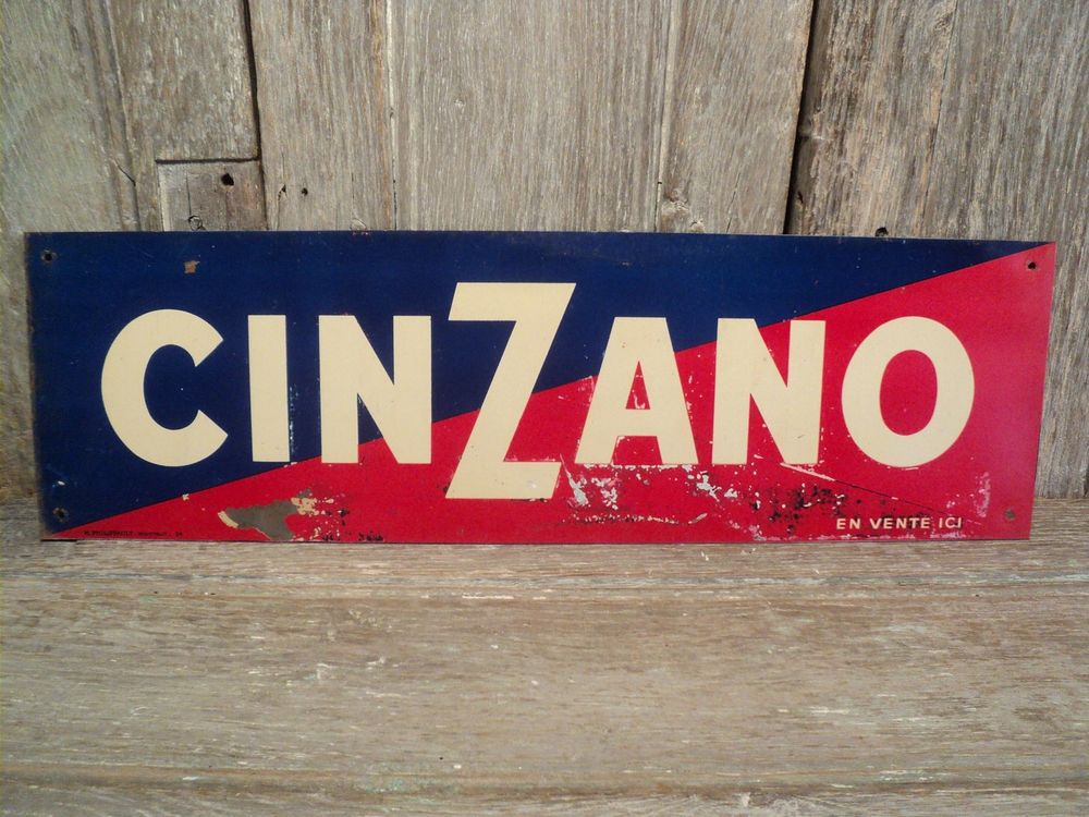 Ancienne Plaque Tôle Publicitaire CINZANO 30 Loches (37)