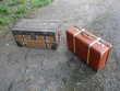 Ancienne Valise de Voyage en Carton Cerclée Bois/malle