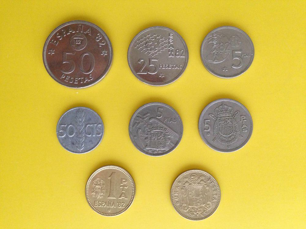 Lot d'anciennes pièces de monnaie Espagnol (série du Mondial 25 Saint-Vallier (71)