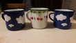 Anciennes tasses/mugs tôle émaillée 1950.