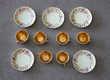 Anciennes tasses et sous-tasses dînette porcelaine dorée Fillinges (74)