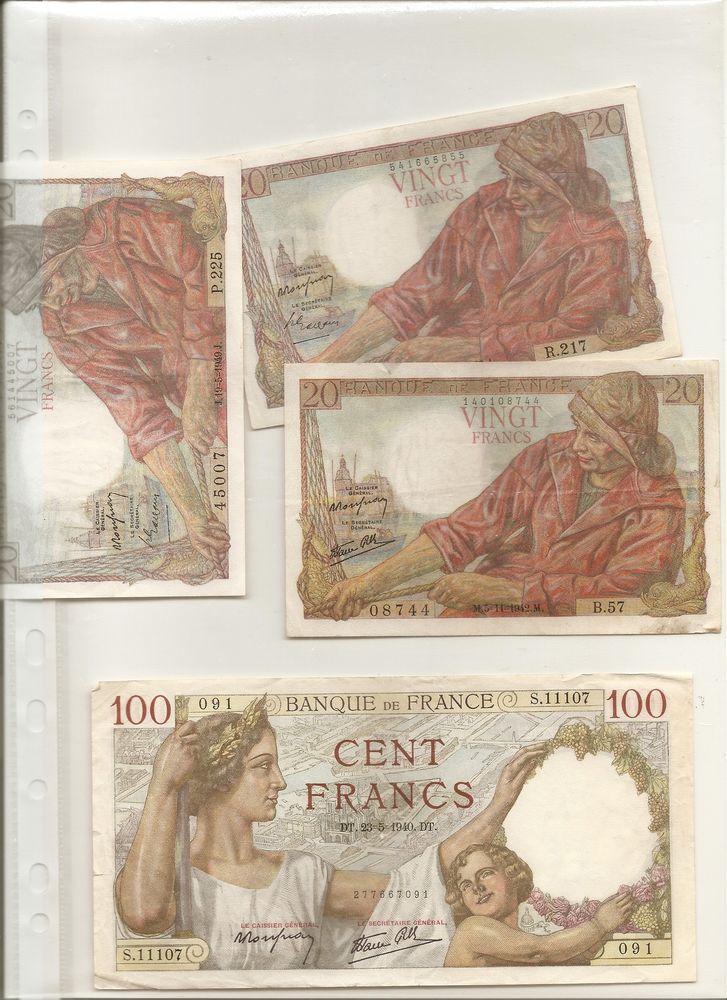 Anciens billets années 1939 1940 1941 1943 1969 100 Eurville-Bienville (52)