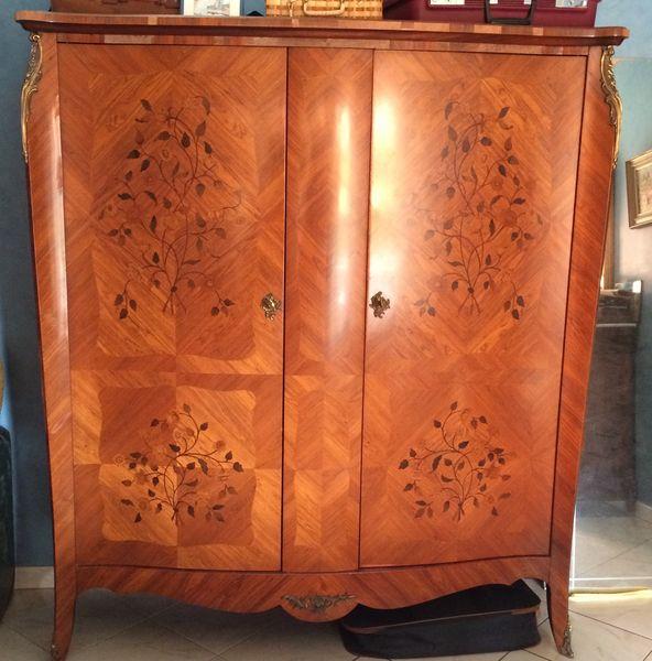 Armoire bois de rose style louis xv 2 portes meubles