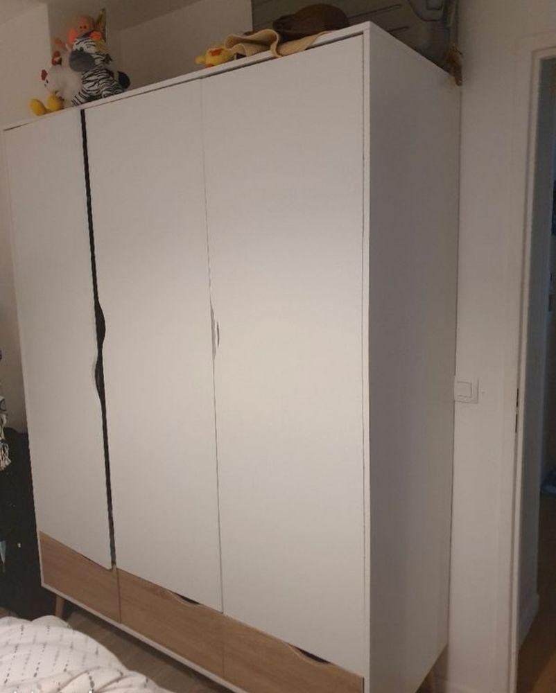 Armoire 3 portes et 3 tiroirs L.147 cm OSLO blanc/ imitation 200 Orly (94)