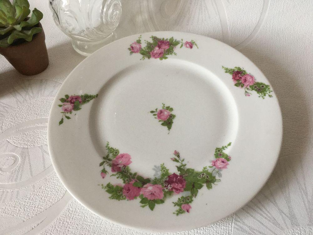 ASSIETTE ancienne en porcelaine de LIMOGES décor de roses  5 Blaye (33)