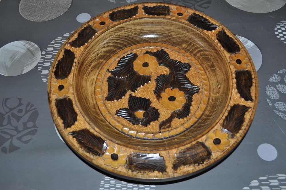 Assiette en bois décorative Décoration