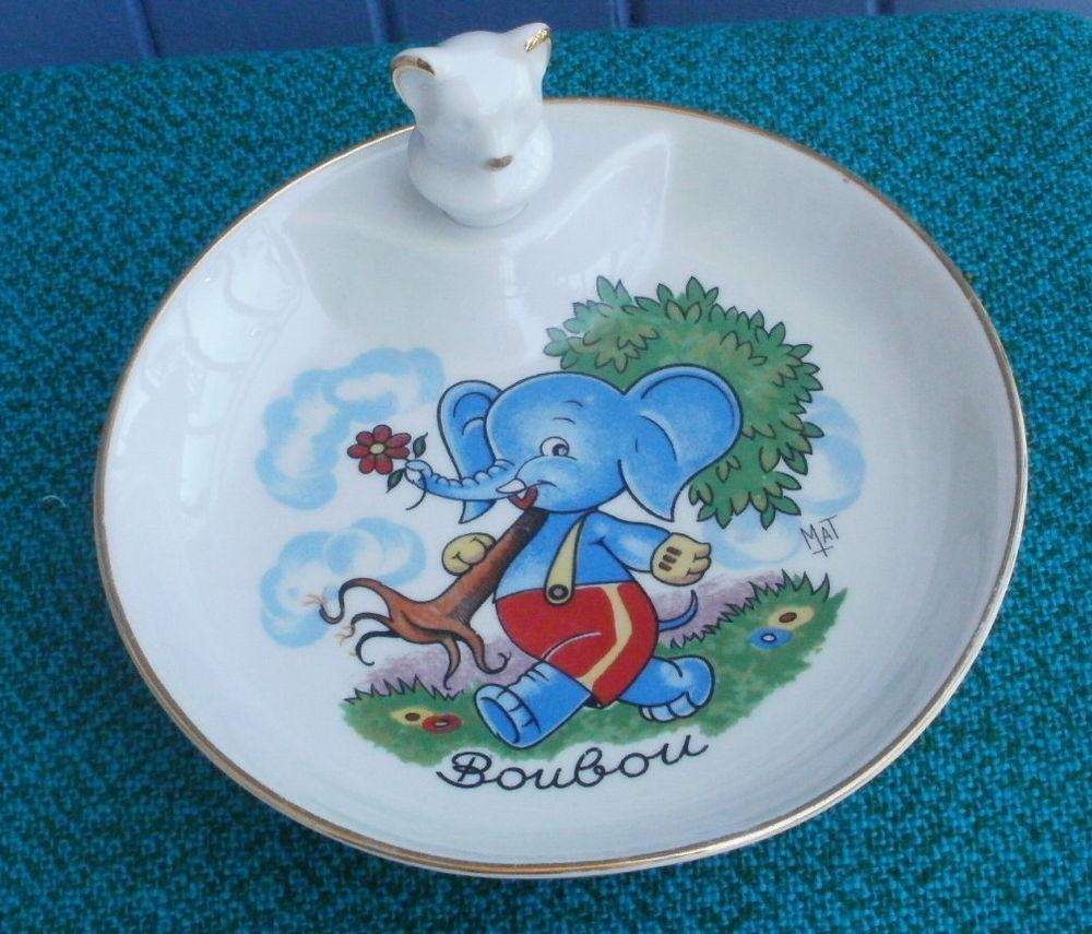 Assiette a bouillie porcelaine LIMOGES - éléphant  BOUBOU 15 Montauban (82)
