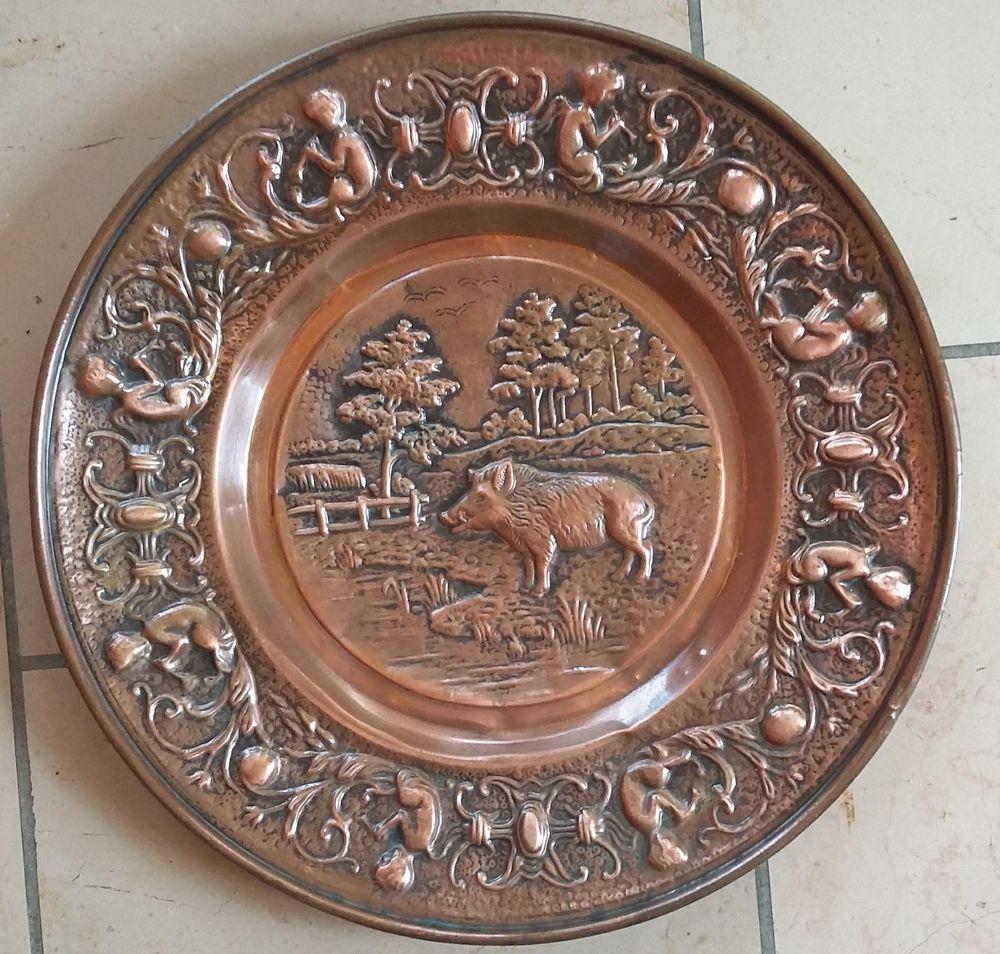 Assiette décorative en cuivre - Bon état Décoration
