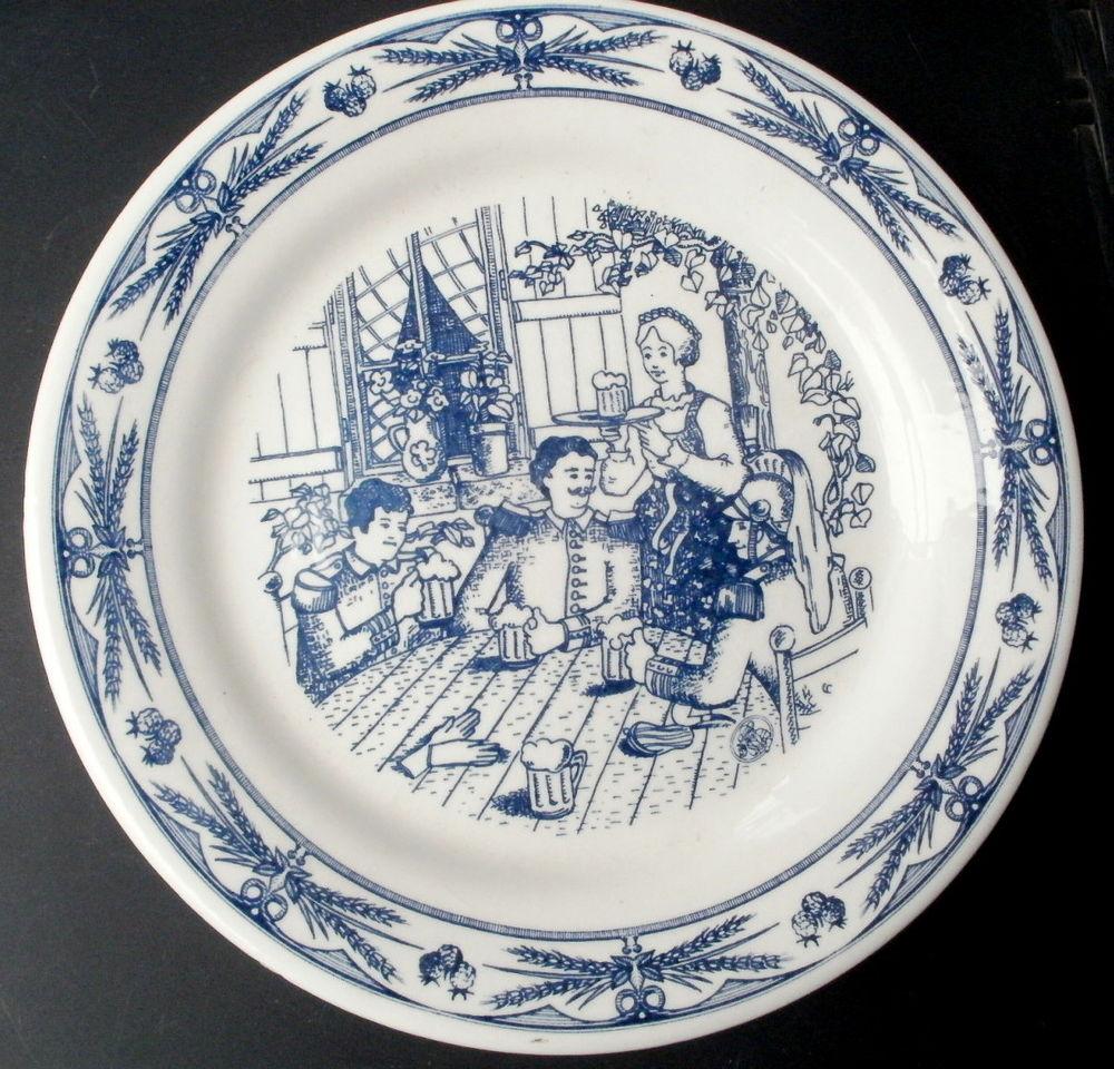 Assiette decorative GIEN bleue,  Mlitaires dans une taverne 10 Montauban (82)