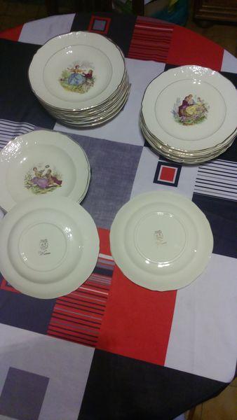 lot assiettes Watteau Anciennes Cuisine