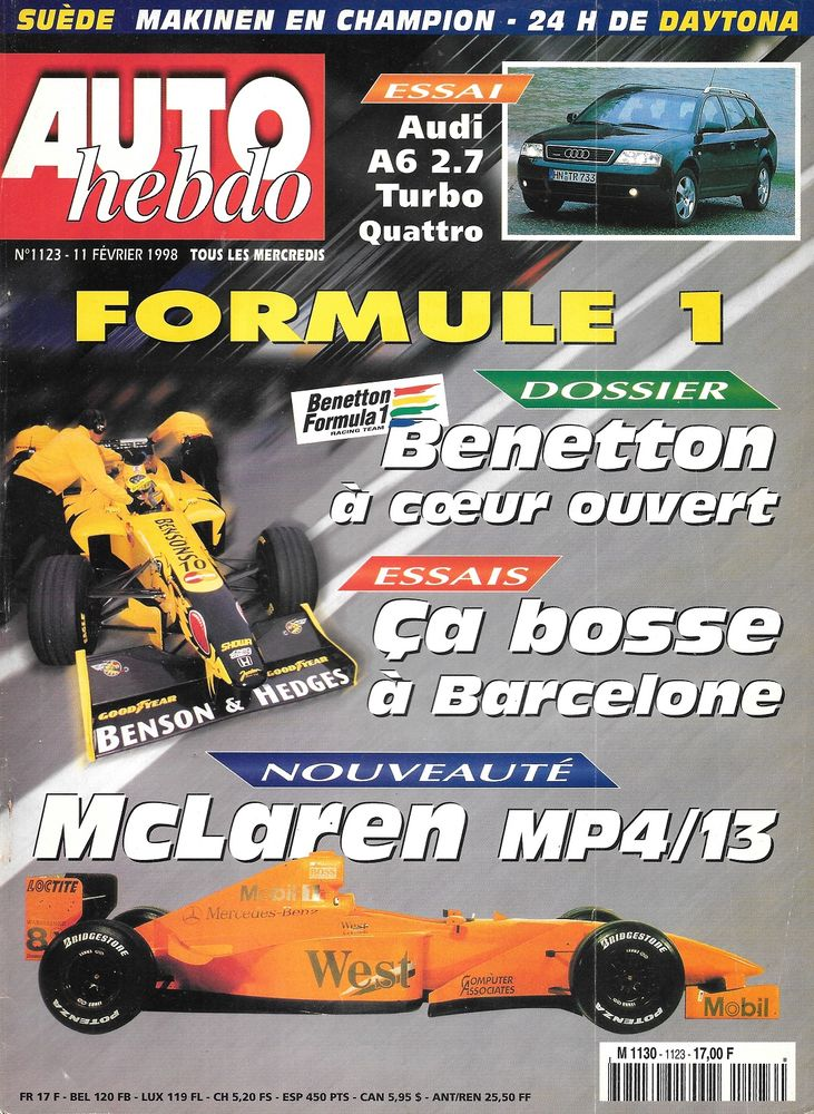 AUTO HEBDO n°1123 1998  AUDI A6 Avant  Rallye Suède 2 Castelnau-sur-Gupie (47)