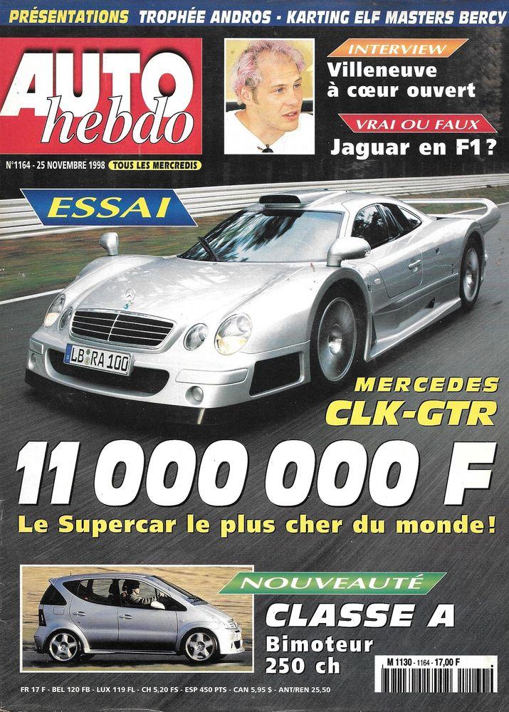 AUTO HEBDO n°1164 1998  MERCEDES AMG CLK-GTR  MERCEDES A 190 2 Castelnau-sur-Gupie (47)