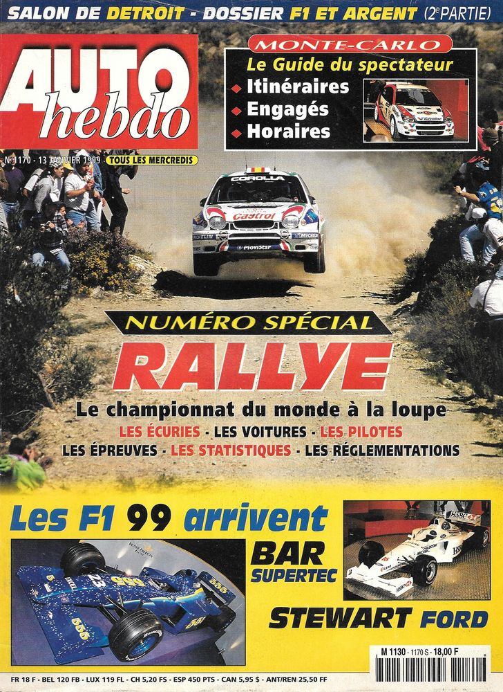 AUTO HEBDO n°1170 1999 Monte Carlo Dakar Salon de Detroit Livres et BD
