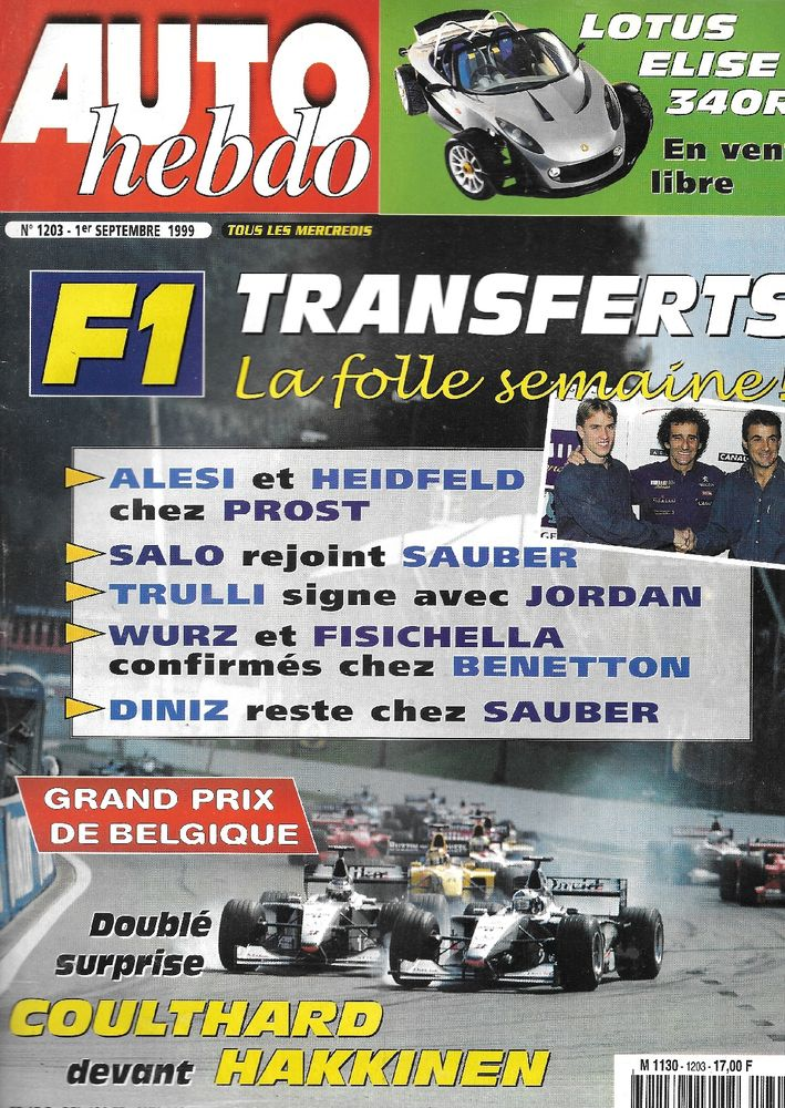 AUTO HEBDO n°1203 1999 ALFA 156 2.0 T.Spark LOTUS Elise Livres et BD