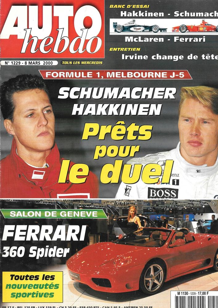 AUTO HEBDO n°1229 2000 Salon de GENEVE Eddie IRVINE Livres et BD