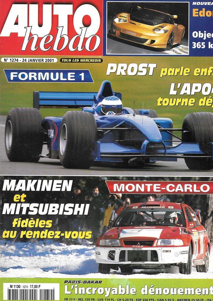 AUTO HEBDO n°1274 2001 SUBARU Impreza WRX Rallye Monte Carlo Livres et BD