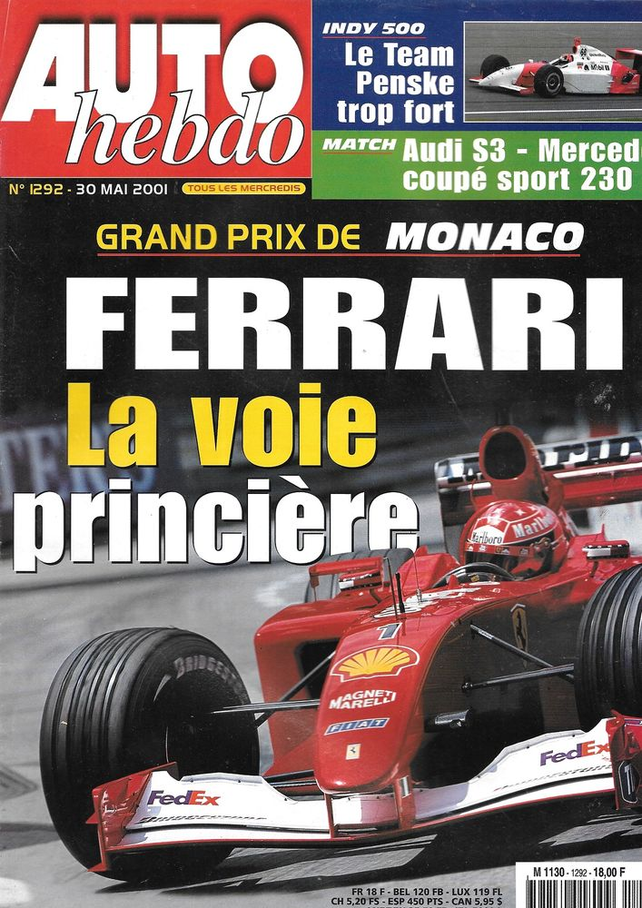 AUTO HEBDO n°1292 2001 AUDI S3 GP Monaco Indianapolis 500 Livres et BD