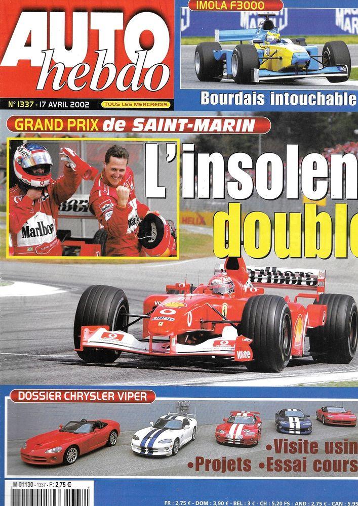 AUTO HEBDO n°1337 2002 DODGE Viper GTS/R GP San Marino Livres et BD