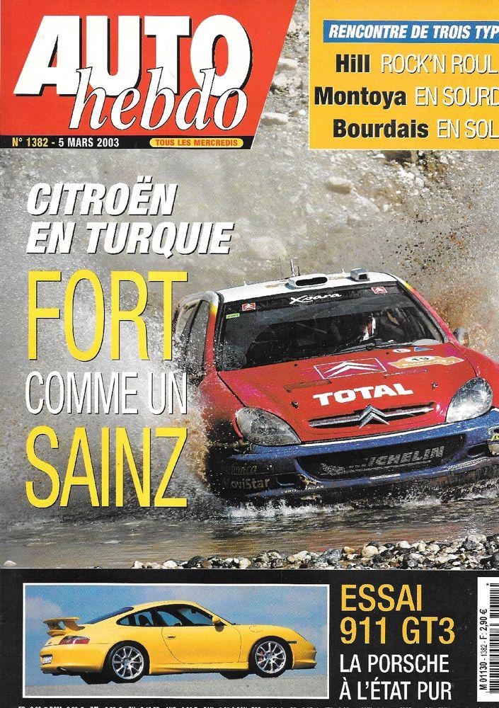AUTO HEBDO n°1382 2003  PORSCHE 911 GT3  Rallye de Turquie 2 Castelnau-sur-Gupie (47)