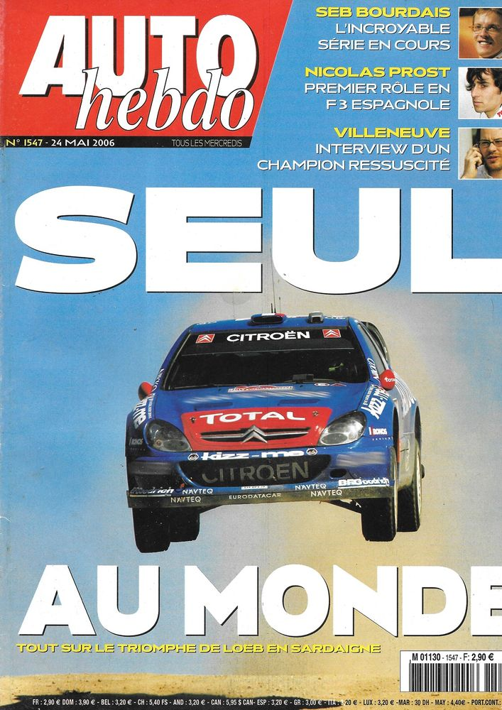 AUTO HEBDO n°1547 2006 PORSCHE 911 Turbo Rallye Sardaigne Livres et BD
