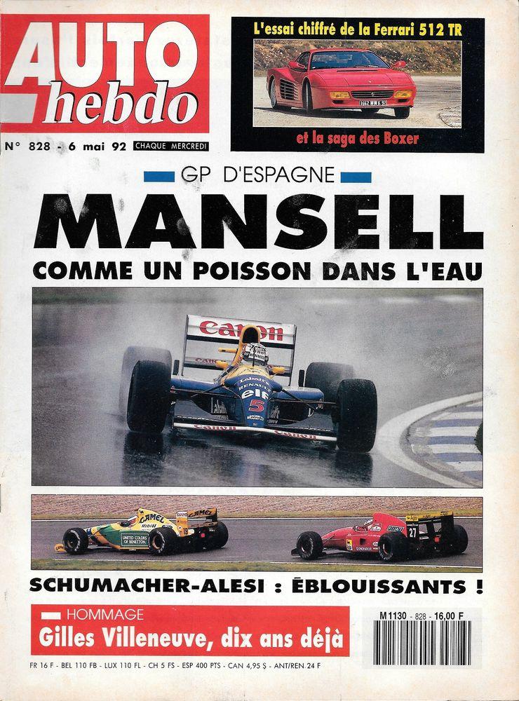 AUTO HEBDO n°828 de 1992 Gilles VILLENEUVE FERRARI 512 TR Livres et BD